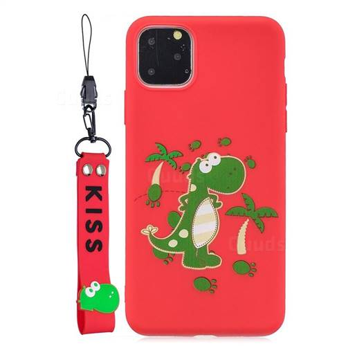Red Dinosaur Soft Kiss Candy Hand Strap Silicone Case for iPhone 11 Pro (5.8 inch)