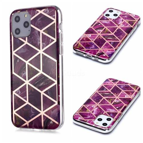 Purple Rhombus Galvanized Rose Gold Marble Phone Back Cover for iPhone 11 Pro (5.8 inch)