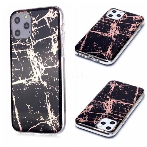 Black Galvanized Rose Gold Marble Phone Back Cover for iPhone 11 Pro (5.8 inch)