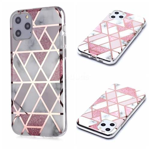Pink Rhombus Galvanized Rose Gold Marble Phone Back Cover for iPhone 11 Pro (5.8 inch)