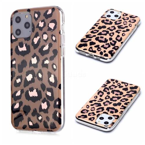 Leopard Galvanized Rose Gold Marble Phone Back Cover for iPhone 11 Pro (5.8 inch)