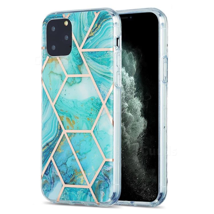 Blue Sea Marble Pattern Galvanized Electroplating Protective Case Cover for iPhone 11 Pro (5.8 inch)