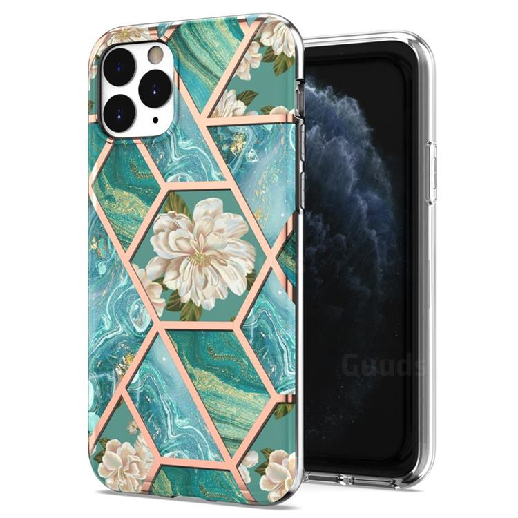 Blue Chrysanthemum Marble Electroplating Protective Case Cover for iPhone 11 Pro (5.8 inch)