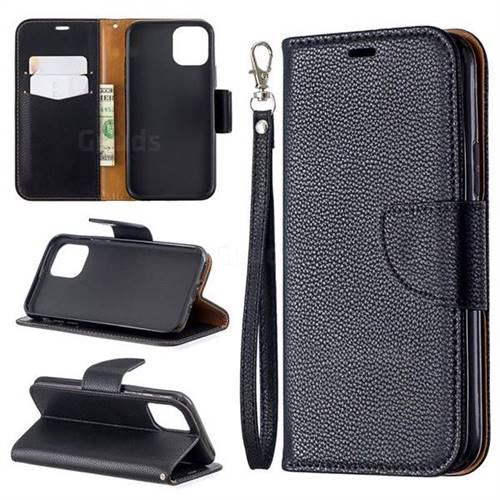 Classic Luxury Litchi Leather Phone Wallet Case for iPhone 11 Pro (5.8 inch) - Black