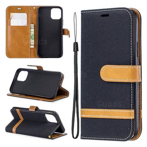 Jeans Cowboy Denim Leather Wallet Case for iPhone 11 Pro (5.8 inch) - Black