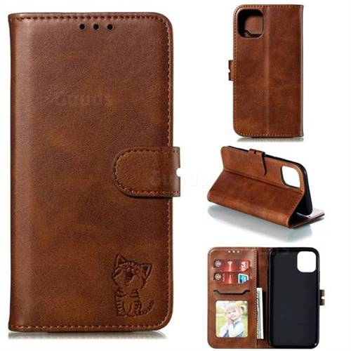 Embossing Happy Cat Leather Wallet Case for iPhone 11 Pro (5.8 inch) - Brown