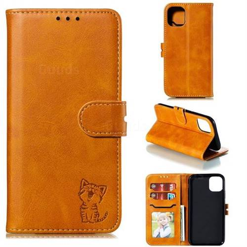 Embossing Happy Cat Leather Wallet Case for iPhone 11 Pro (5.8 inch) - Yellow