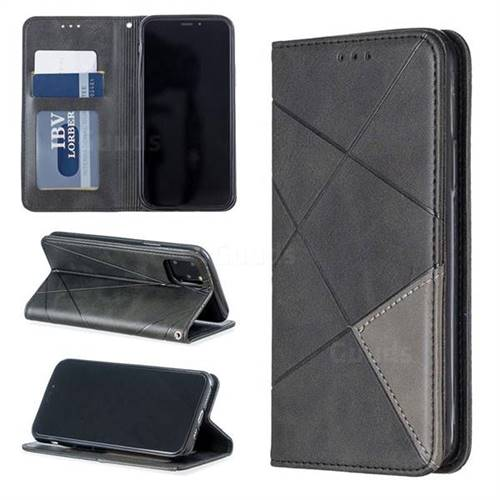 Prismatic Slim Magnetic Sucking Stitching Wallet Flip Cover for iPhone 11 Pro (5.8 inch) - Black