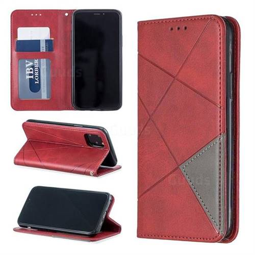 Prismatic Slim Magnetic Sucking Stitching Wallet Flip Cover for iPhone 11 Pro (5.8 inch) - Red