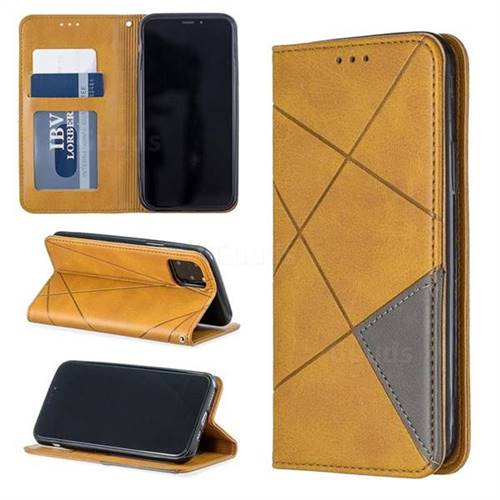 Prismatic Slim Magnetic Sucking Stitching Wallet Flip Cover for iPhone 11 Pro (5.8 inch) - Yellow