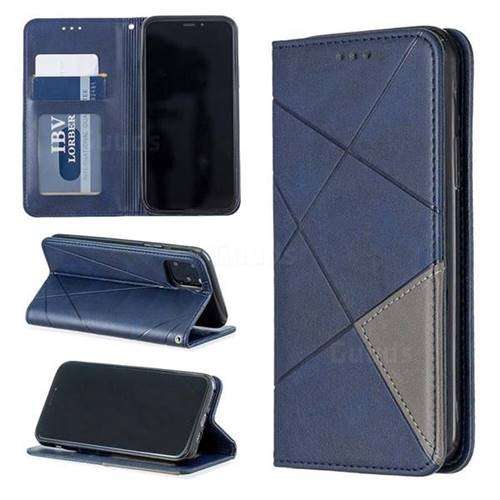 Prismatic Slim Magnetic Sucking Stitching Wallet Flip Cover for iPhone 11 Pro (5.8 inch) - Blue