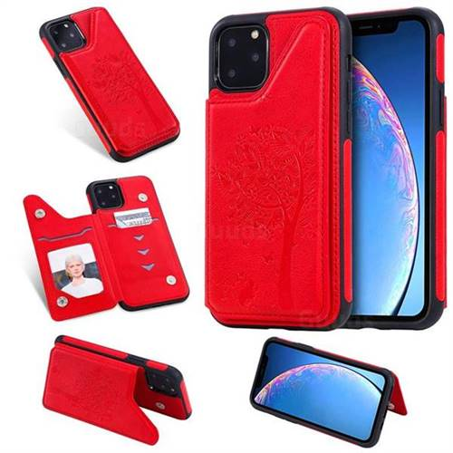 Luxury Tree and Cat Multifunction Magnetic Card Slots Stand Leather Phone Back Cover for iPhone 11 Pro (5.8 inch) - Red