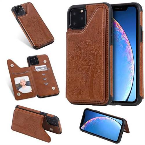 Luxury Tree and Cat Multifunction Magnetic Card Slots Stand Leather Phone Back Cover for iPhone 11 Pro (5.8 inch) - Brown