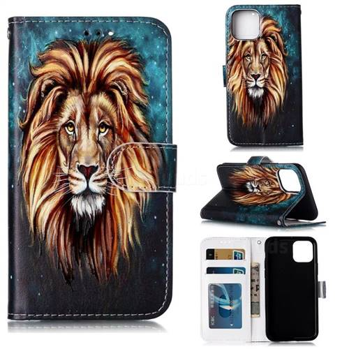 Ice Lion 3D Relief Oil PU Leather Wallet Case for iPhone 11 Pro (5.8 inch)