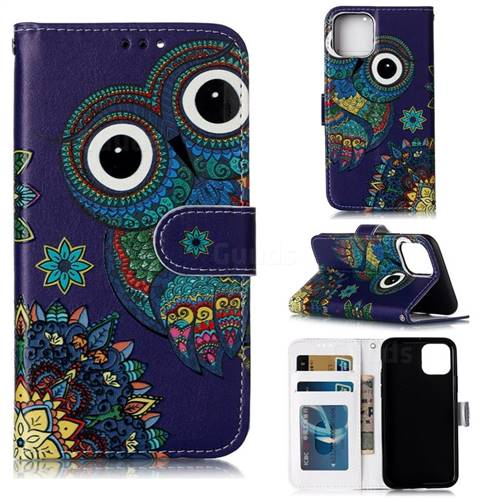 Folk Owl 3D Relief Oil PU Leather Wallet Case for iPhone 11 Pro (5.8 inch)
