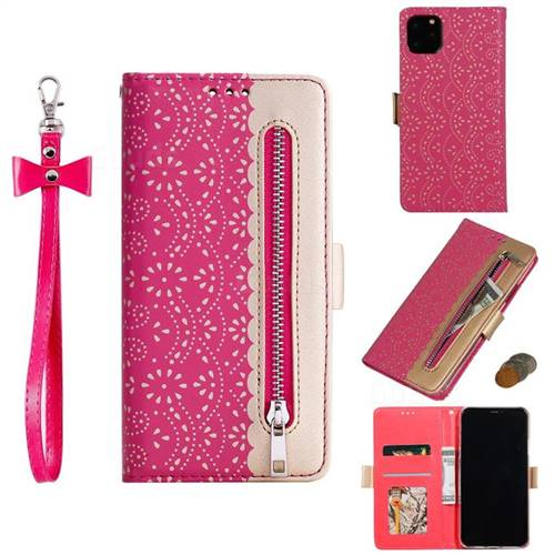 Luxury Lace Zipper Stitching Leather Phone Wallet Case for iPhone 11 Pro (5.8 inch) - Rose