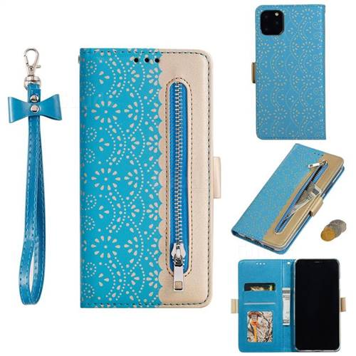 Luxury Lace Zipper Stitching Leather Phone Wallet Case for iPhone 11 Pro (5.8 inch) - Blue