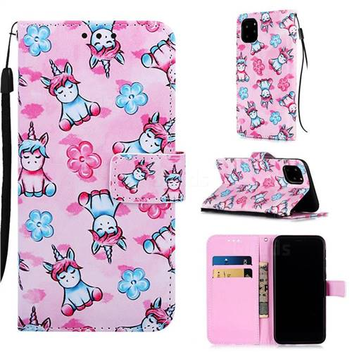 Unicorn and Flowers Matte Leather Wallet Phone Case for iPhone 11 Pro (5.8 inch)