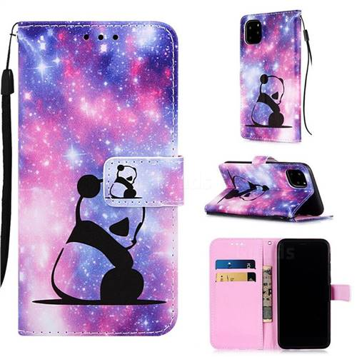 Panda Baby Matte Leather Wallet Phone Case for iPhone 11 Pro (5.8 inch)