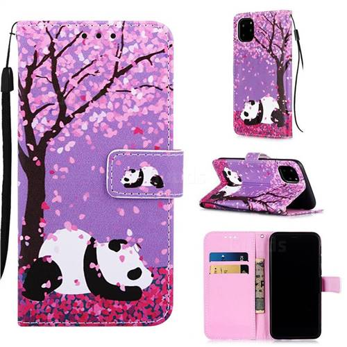 Cherry Blossom Panda Matte Leather Wallet Phone Case for iPhone 11 Pro (5.8 inch)