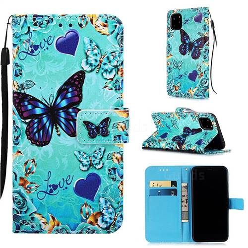 Love Butterfly Matte Leather Wallet Phone Case for iPhone 11 Pro (5.8 inch)