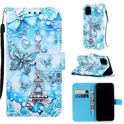 Tower Butterfly Matte Leather Wallet Phone Case for iPhone 11 Pro (5.8 inch)