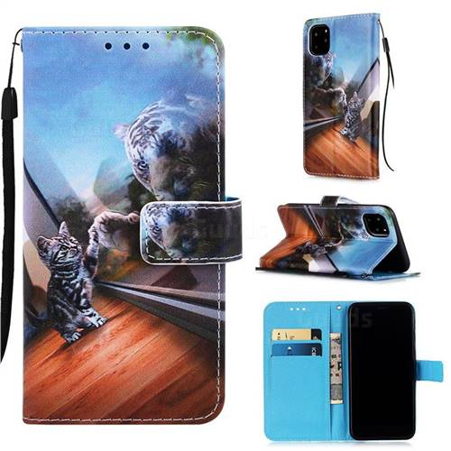 Mirror Cat Matte Leather Wallet Phone Case for iPhone 11 Pro (5.8 inch)