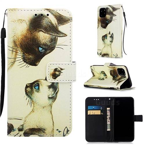 Cat Confrontation Matte Leather Wallet Phone Case for iPhone 11 Pro (5.8 inch)