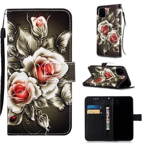 Black Rose Matte Leather Wallet Phone Case for iPhone 11 Pro (5.8 inch)