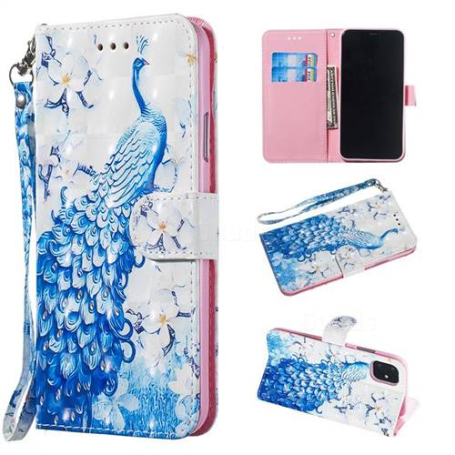 Blue Peacock 3D Painted Leather Wallet Phone Case for iPhone 11 Pro (5.8 inch)