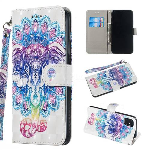 Colorful Elephant 3D Painted Leather Wallet Phone Case for iPhone 11 Pro (5.8 inch)