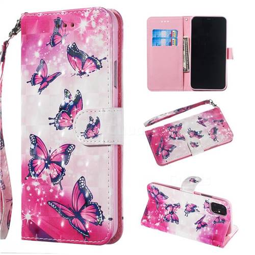Pink Butterfly 3D Painted Leather Wallet Phone Case for iPhone 11 Pro (5.8 inch)