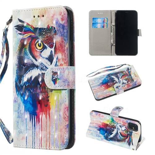 Watercolor Owl 3D Painted Leather Wallet Phone Case for iPhone 11 Pro (5.8 inch)