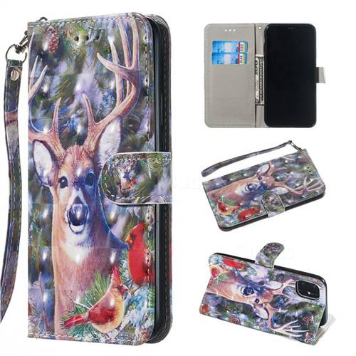 Elk Deer 3D Painted Leather Wallet Phone Case for iPhone 11 Pro (5.8 inch)
