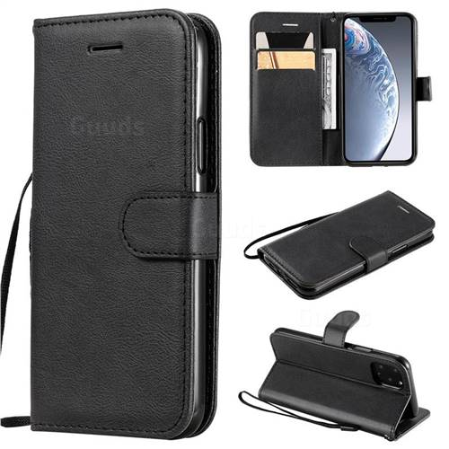 Retro Greek Classic Smooth PU Leather Wallet Phone Case for iPhone 11 Pro (5.8 inch) - Black