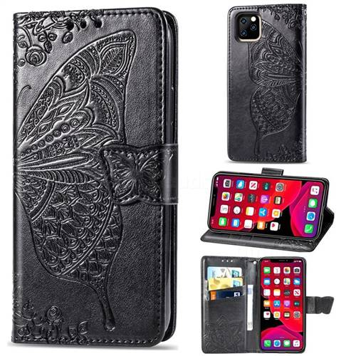 Embossing Mandala Flower Butterfly Leather Wallet Case for iPhone 11 Pro (5.8 inch) - Black