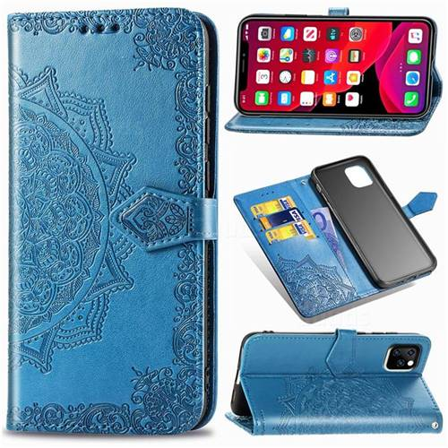 Embossing Imprint Mandala Flower Leather Wallet Case for iPhone 11 Pro (5.8 inch) - Blue