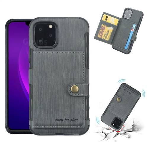 Brush Multi-function Leather Phone Case for iPhone 11 Pro (5.8 inch) - Gray