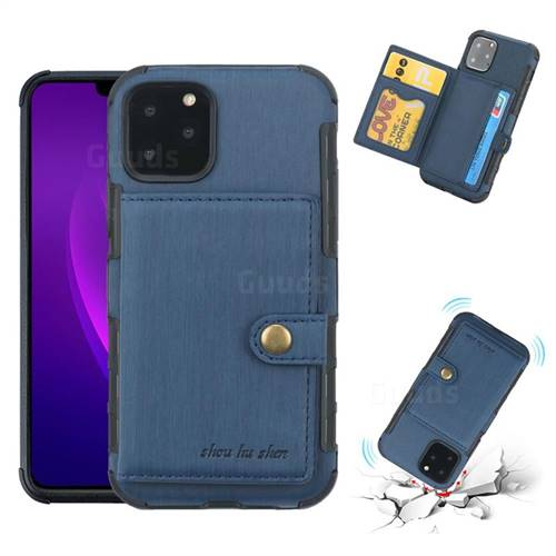 Brush Multi-function Leather Phone Case for iPhone 11 Pro (5.8 inch) - Blue
