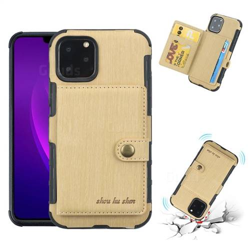 Brush Multi-function Leather Phone Case for iPhone 11 Pro (5.8 inch) - Golden