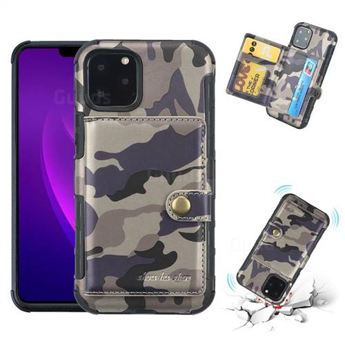 Camouflage Multi-function Leather Phone Case for iPhone 11 Pro (5.8 inch) - Gray