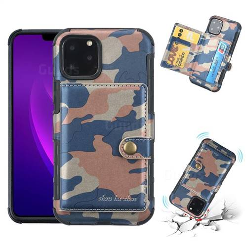 Camouflage Multi-function Leather Phone Case for iPhone 11 Pro (5.8 inch) - Blue