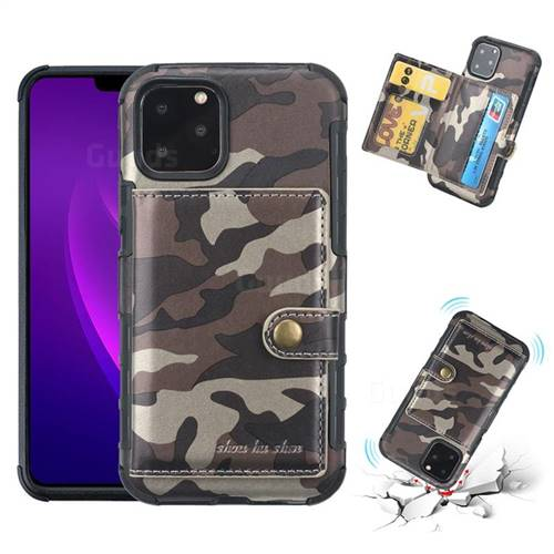 Camouflage Multi-function Leather Phone Case for iPhone 11 Pro (5.8 inch) - Coffee