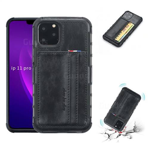 Luxury Shatter-resistant Leather Coated Card Phone Case for iPhone 11 Pro (5.8 inch) - Black