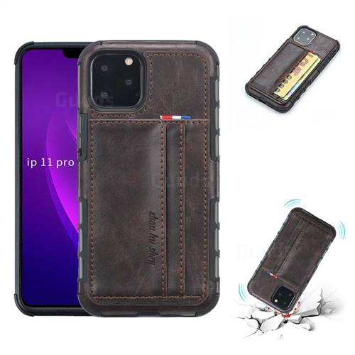 Luxury Shatter-resistant Leather Coated Card Phone Case for iPhone 11 Pro (5.8 inch) - Coffee