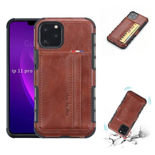 Luxury Shatter-resistant Leather Coated Card Phone Case for iPhone 11 Pro (5.8 inch) - Brown