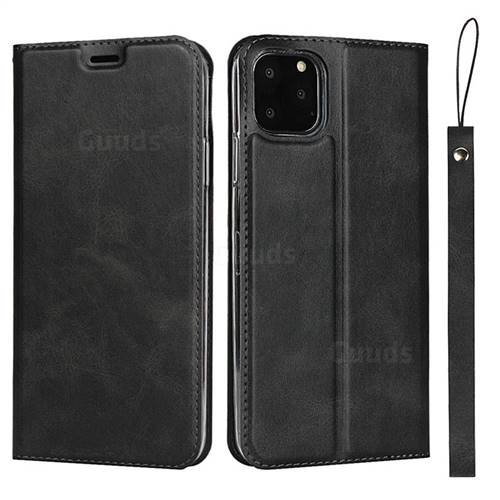 Calf Pattern Magnetic Automatic Suction Leather Wallet Case for iPhone 11 Pro (5.8 inch) - Black
