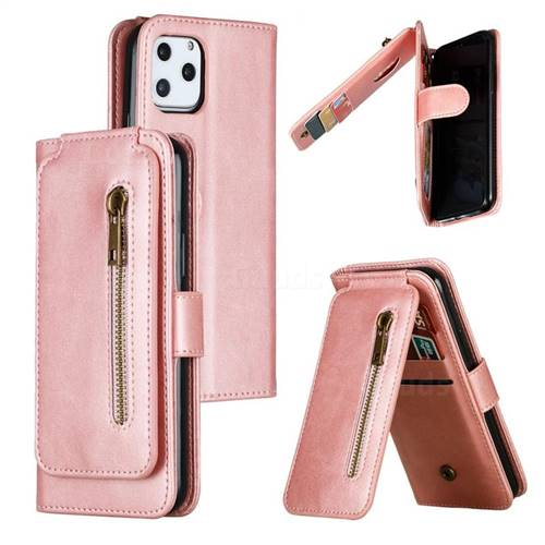 Multifunction 9 Cards Leather Zipper Wallet Phone Case for iPhone 11 Pro (5.8 inch) - Rose Gold