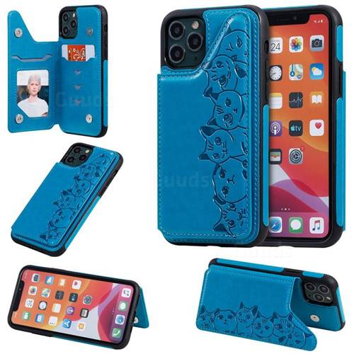 Yikatu Luxury Cute Cats Multifunction Magnetic Card Slots Stand Leather Back Cover for iPhone 11 Pro (5.8 inch) - Blue