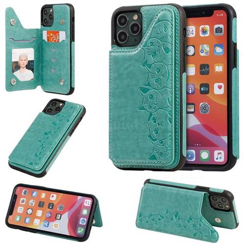 Yikatu Luxury Cute Cats Multifunction Magnetic Card Slots Stand Leather Back Cover for iPhone 11 Pro (5.8 inch) - Green